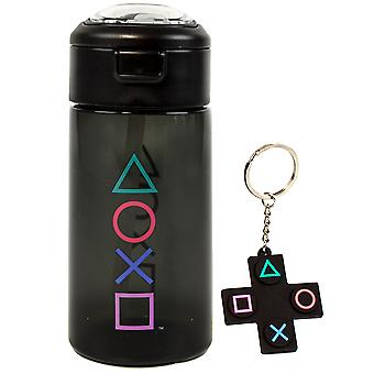 PlayStation Water Bottle & Keychain Gift For Adults & Kids | Gaming Sports Drink 18oz | Boy & Girl Gamer Present | Black Waterproof & Straw Drinking Cup