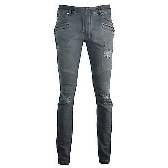 Balmain Skinny Biker Worn Effect Blue Jeans