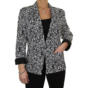 Women's Smart Evening Long Sleeve Event Tailored Blazer Jacket Lightweight Fully Lined Black Cream Print Size 12