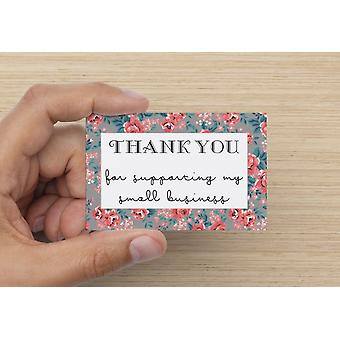 Grey Floral Thank You For Supporting My Small Business Cards