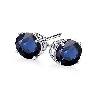 4-Prong Round Cut Blue Sapphire Stud Earrings 0.50 ct. tw.