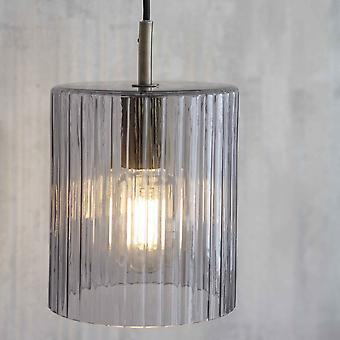 Garden Trading Clarendon Pendant Light With Smoked Ribbed Glass