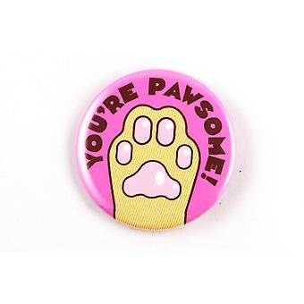 "Funny Cat Paw Magnet, Pin, Or Pocket Mirror ""you're Pawsome!"""