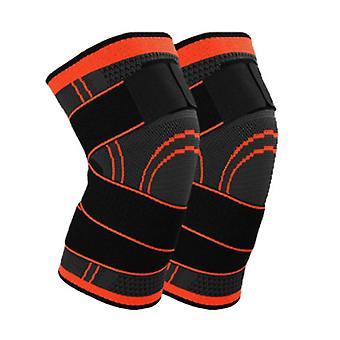 S Orange 2PC Polyester Fiber Latex Spandex Knit Pressure Bandage SportsKnee Pads