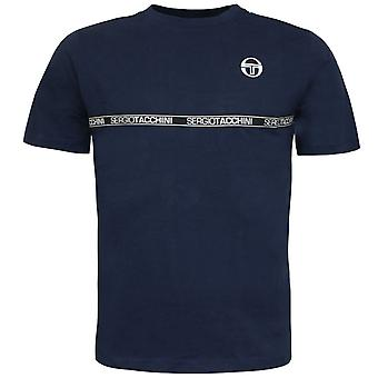 Sergio Tacchini Mens Fosh T-Shirt Graphic Taped Casual Navy Top 38765 200