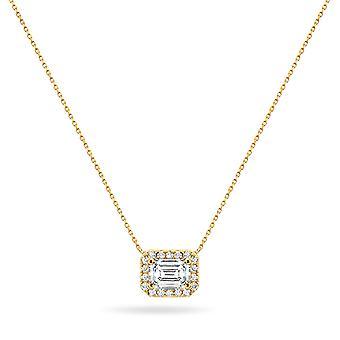 قلادة جراند الزمرد قطع الماس 18K الذهب - الذهب الأصفر
