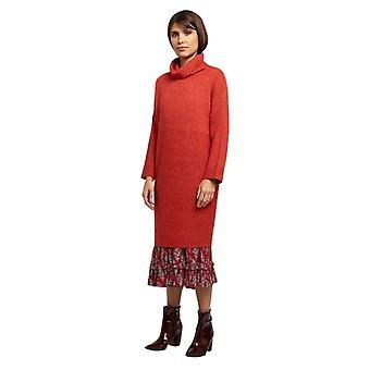 Louche Womens Juana Knitted Rib Detail Roll Neck Jumper Dress Red