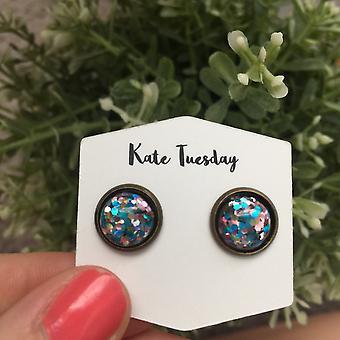 12mm Pink Blue Glitter Earrings