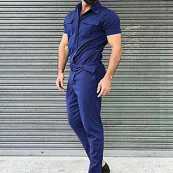 Multi Pocket Overalls Casual Men Jumpsuit, Streetwear Loose Caro Pant, Strap