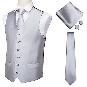 Men's Classic Silk Waistcoat Handkerchief Cufflinks Party Wedding Vest Suit Set