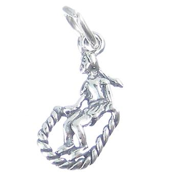 Girl With Skipping Rope Sterling Silver Charm .925 X1 Jump Ropes Charms - 3271