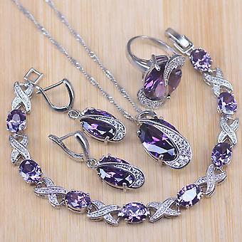 Jewelry Sets, Wedding Party, Purple Crystal Earrings, Bracelet, Rings,