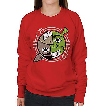 Shrek en Donkey Smiling Karakter Heads Women's Sweatshirt