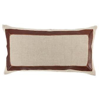 Fabric Pillow With Leatherette Accents, Cream And Brown