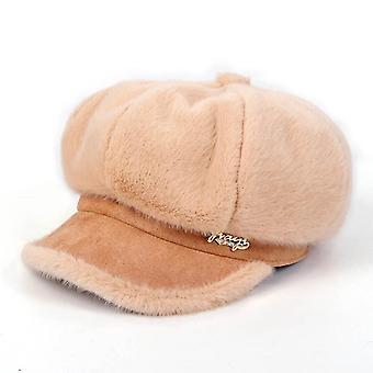 Winter Women Newsboy Cap, Faux Rabbit Fur Plush Octagonal Baseball Hat