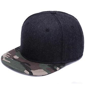 Wool Snapback Plain Camouflage Baseball Cap