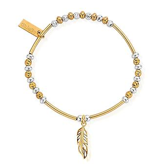 ChloBo Gold And Silver Sparkle Filigree Feather Bracelet GMBSBNH1089