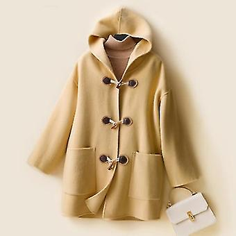 New Ladies Double-sided Woolen Coat, Ladies ' Popular Hooded Coat, Hand-sewn Wool Coat, Soft And Temperament