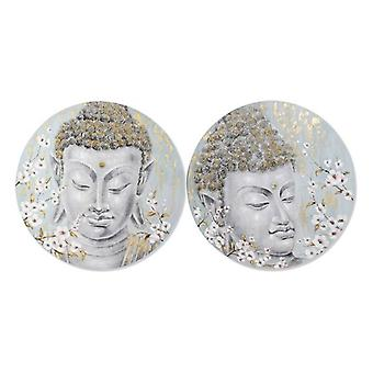 Painting Dekodonia Acrylic Wood Oriental Canvas Buddha (2 pcs)