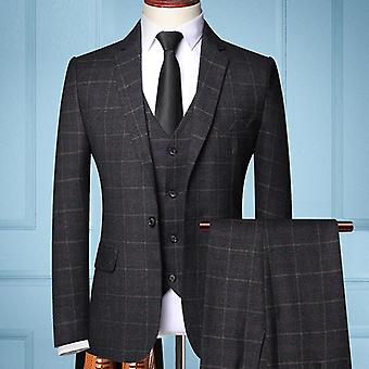 Three-piece Male Formal Business Plaids Suit's, Boutique Plaid Wedding Dress