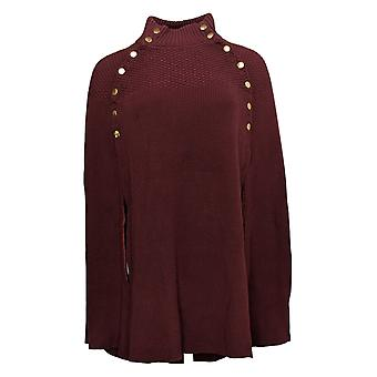 G.I.L.I. Got It Love It Women>S Sweater Cape Button Mock Neck Rood A368018