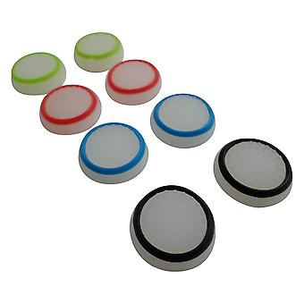 Thumb grips for ps4 sony controller dotted stick cover grip caps - 8 pack glow in the dark multi colour | zedlabz