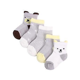 5 Pairs/lot Newborns Cute Cartoons Soft Cotton Socks