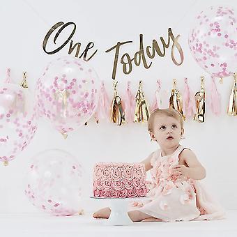 Gerui Pink & Gold Girls Cake Smash Kit First Birthday Party Photo Pick & Mix, Pink