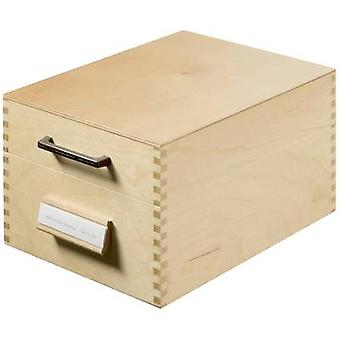 HAN 506 Card index box Natural wood No. of cards (max.): 900 cards A6 landscape incl. metal prop, retractable lid with handle