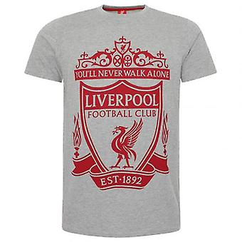 Liverpool Crest T Shirt Mens Grey M