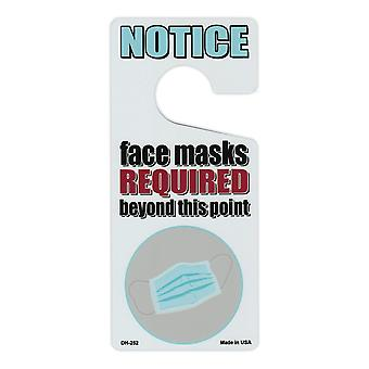 Door Knob Hanger, Metal, Notice, Face Masks Required Beyond This