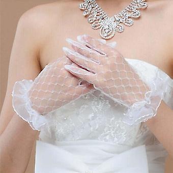 Nevěsta Svatba - krátký design, krajka průhledná, Rukavice