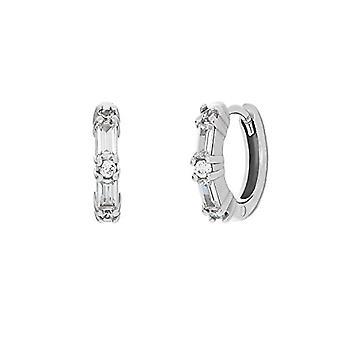 """OELANI - Women's hoop earrings, in silver 925 with zircons """"Baguette"""