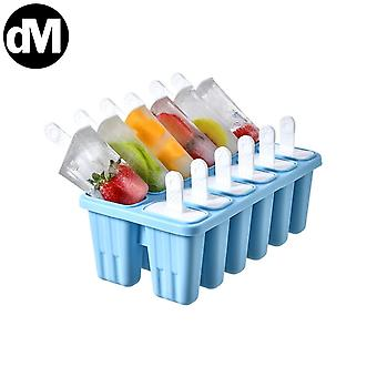25cm 12 Cells Multicolored Ice Cream Mold Food Grade Silicone Ice Tray Ice Box Ices Maker Home(Blue)