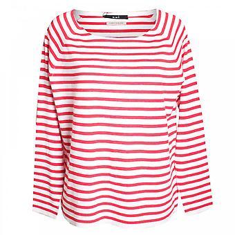 Oui Fine Knit Stripe Long Sleeve Top