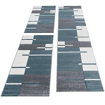 Bettumrandung Läufer Teppich Modern Designer Läuferset Kariert Muster 3 Teilig Grau Blau Weiß