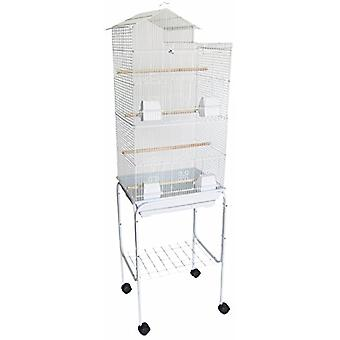 """6894 3/8"""" Bar Spacing Tall Villa Top Small Bird Cage With Stand - 18""""X14"""" In White"""