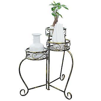 Golden  multilayer retro folding flower pot stand vase rack 36x36x56.5cm homi4399