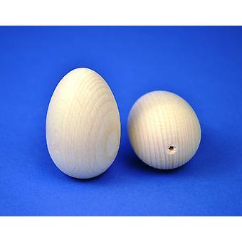 2 stevige houten eieren - 60mm hoog