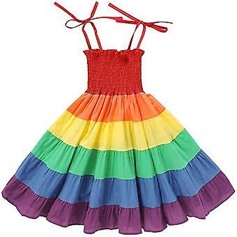 Girls Rainbow Dress Toddler Princess Sleeveless Halter Beach(130cm)