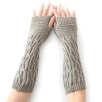 -Jag är ljusgrå. Kvinnor Termiska mjuka vantar Armvärmare Skyddade Fingerlösa Långa Stickade Handskar