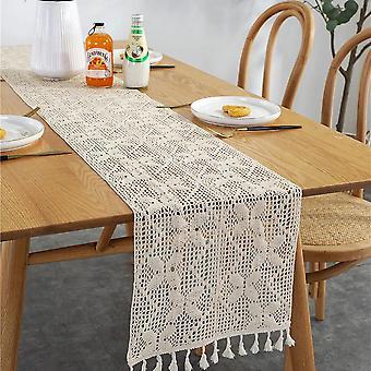 Corredor de mesa de macarrão de renda de crochê com tassels, Boho Cotton Hollow Out Decor  Corredores de Mesa