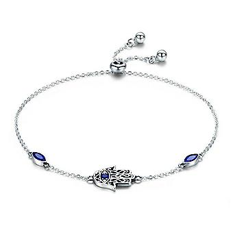 Silver plating Lucky Hamsa  Hand Chain Link Bracelets for Women Blue Jewelry