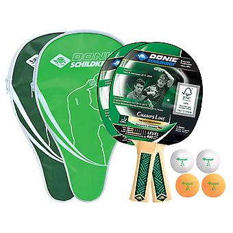 Donic Schildkrot Champs 400 Cover Table Tennis Set - 2 Bats and 4 Balls Included