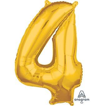 89551 26 Zoll Nummer 4 Helium Ballon - Gold
