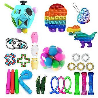 28st Extrudering Fidget Leksaker Set Push Pop Bubble Stress Relief Leksaker för barn
