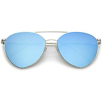 Oversize Thin Metal Aviator Sunglasses Double Crossbar Mirrored Flat Lens 62mm