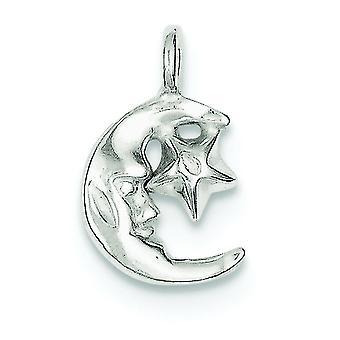 925 Sterling Silber solide poliert open zurück himmlischen Mond und Stern Charme Anhänger Halskette Schmuck Geschenke für Frauen