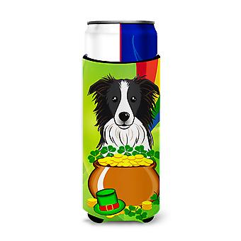 Border Collie St. Patrick's Day Michelob Ultra beverage Insulator for slim cans