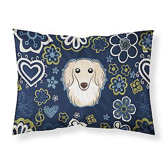 Blue Flowers Longhair Creme Dachshund Fabric Standard Pillowcase